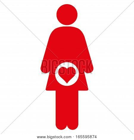Pregnant Woman vector icon. Flat red symbol. Pictogram is isolated on a white background. Designed for web and software interfaces.