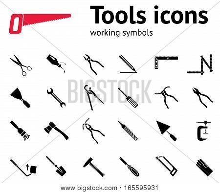 Tools icons set. Glue, pliers, tongs, wrench key, hammer, rubber gloves, spattle, brush, scissors, chisel, clamp, saw, pinchbar, surfacer, spade, angle. Repair fix symbols. Vector poster