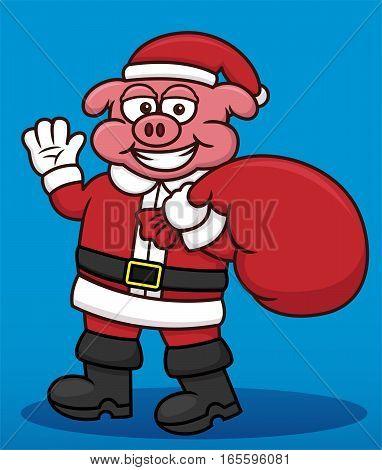 Pig Santa Claus with Gift Bag Cartoon Illustration