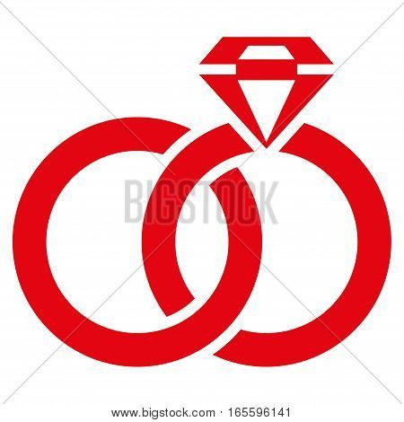 Wedding Rings With Gem vector icon. Flat red symbol. Pictogram is isolated on a white background. Designed for web and software interfaces.