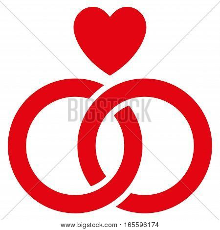 Wedding Rings With Heart vector icon. Flat red symbol. Pictogram is isolated on a white background. Designed for web and software interfaces.