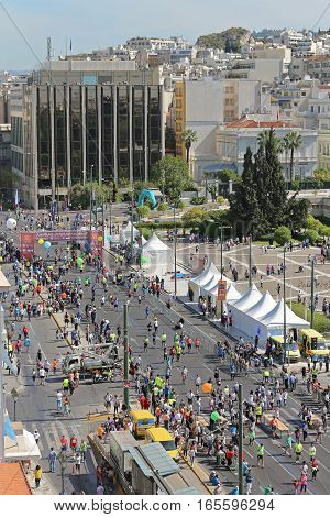 ATHENS GREECE - MAY 03: Half Marathon in Athens on MAY 03 2015. Aerial View of Finish Line Near Hellenic Parliament in Athens Greece.