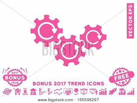 Pink Transmission Gears Rotation icon with bonus 2017 year trend design elements. Vector illustration style is flat iconic symbols, white background.