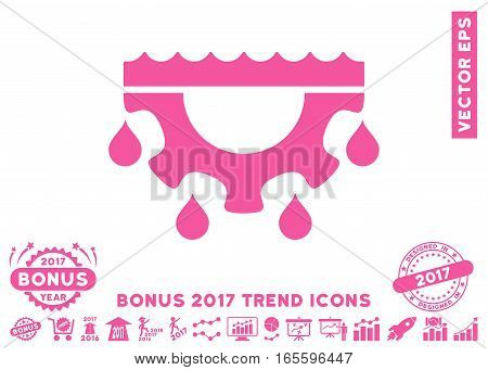 Pink Water Gear Drops pictogram with bonus 2017 year trend icon set. Vector illustration style is flat iconic symbols, white background.