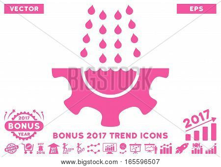 Pink Water Shower Service Gear pictogram with bonus 2017 year trend design elements. Vector illustration style is flat iconic symbols white background.
