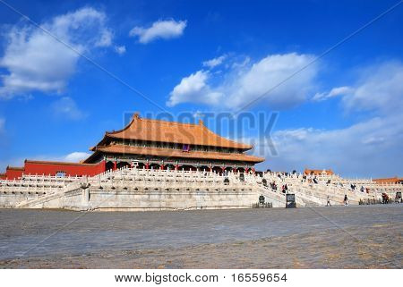 Taihe Dian(Hall of Supreme Harmony), the largest hall within the Forbidden City.It was the location where Ming Dynasty and Qing Dynasty Emperors hosted their enthronement and wedding ceremonies.