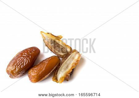 Dried Date Fruits Isolated On White