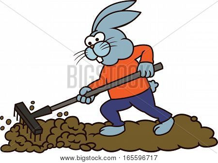 Rabbit Farmer Working with Rake Cartoon Illustration