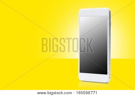 smart phone with blank screen on yellow background
