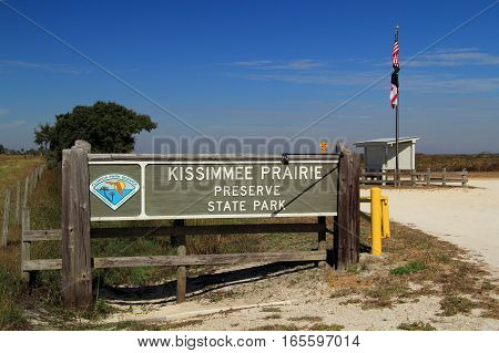Entrance to Kissimmee Prairie Preserve State Park, Florida