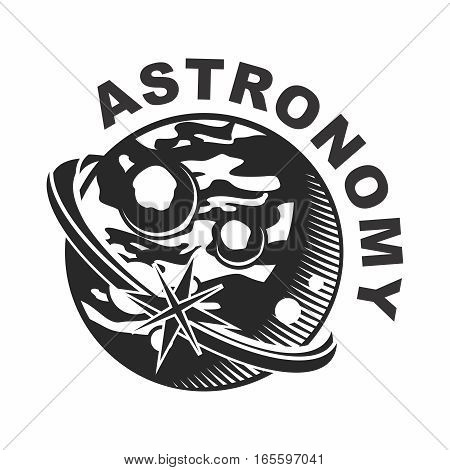 Vector Retro Astronomy Monochrome Logo Stamp of Planet Mars, isolate on white background