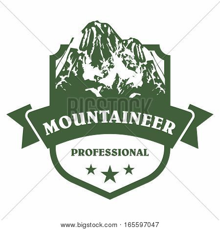 Vector Symbol Badge of Professional Mountaineer Summit Logo Template, isolated on white background