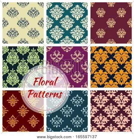 Luxury flowery patterns. Flourish baroque background with rococo design. Vector floral backdrops and ornate ornament tiles set of seamless tracery motif and flourish embellishment