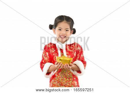 Asian Little Girl Holding Gold Ingot Money