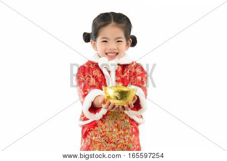 Asian Kids Girl Showing Gold For Lucky