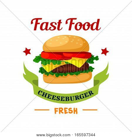 Cheeseburger icon. Fast Food burger emblem. Hamburger with meat cutlet, fresh buns, cheese and lettuce. Vector isolated fast food meal symbol with ribbon with stars for fast food sign or takeaway menu
