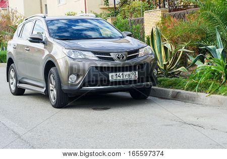 Sochi, Russia - October 11, 2016: New Toyota RAV4 on the street of Sochi City. Sport utility vehicle (SUV) produced by Japanese automobile manufacturer Toyota.