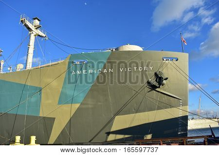 Tampa, Florida - Usa - January 07, 2016: American Victory Ship Aft Deck