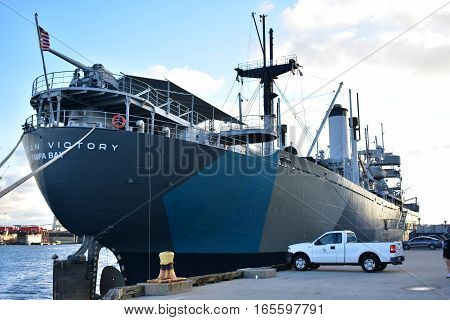 Tampa, Florida - Usa - January 07, 2016: American Victory Museum Ship Tampa