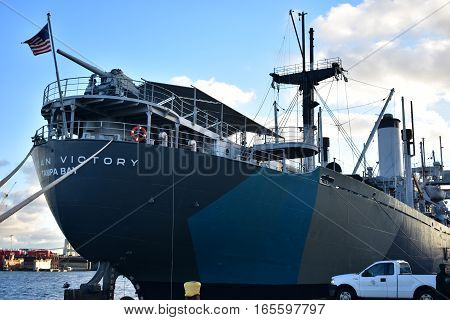 Tampa, Florida - Usa - January 07, 2016: American Victory Ship Tampa Bay