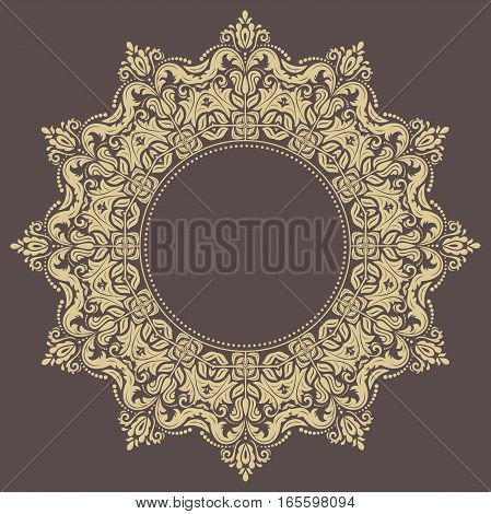 Elegant ornament in the style of barogue. Abstract traditional pattern with oriental elements. Brown and golden pattern