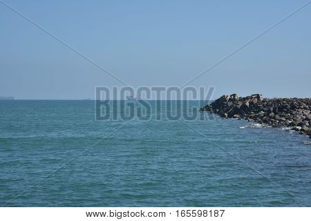 mountain range of rocks in the sea of ​​veracruz mexico