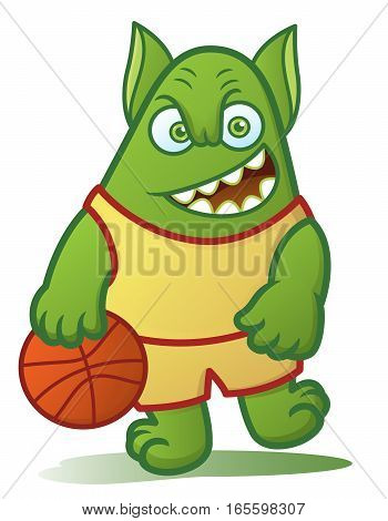 Basketball Player Monster Cartoon Character Isolated on White