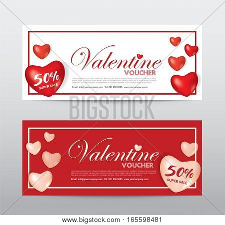 Happy Valentine Day Gift Voucher Coupon Banner Card Promotion template. Heart Red Ballon. Elegant Vector illustration.