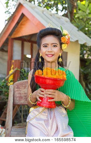Female Child Girl In Thai Dress Old-fashion Style, Traditional Thai Clothing For Children Wearing.