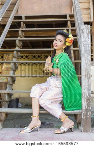 Thai Girl Children In Traditional Old Fashion Thailand Style In Greeting Composing.