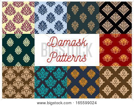 Flourish damask baroque patterns of flowery ornate luxury embellishment and floral motif. Vector seamless backdrops set with rococo ornament tiles of ornamental flowers tracery for interior design