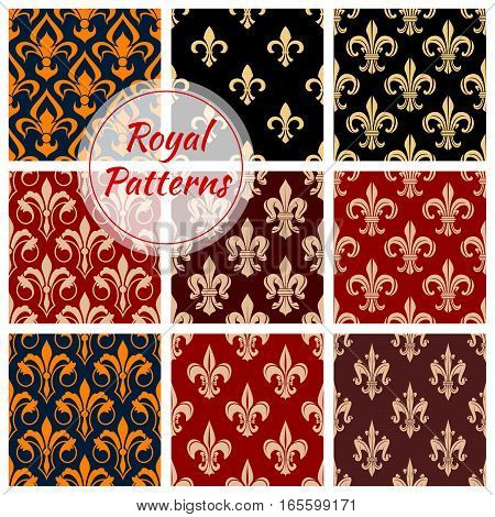 Royal patterns set of floral fleur-de-lis motif. Heraldic lily ornate seamless background. Vector flowery fleur-de-lys ornament tile. Flourish embellishment backdrop and ornamental tracery design poster