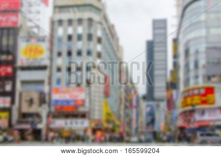 Blurred background. Shinjuku Kabuki central road in Tokyo Japan.