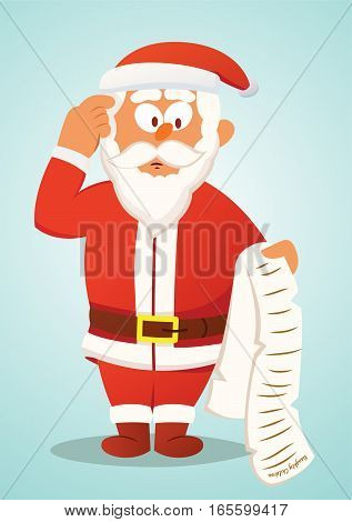Confused Santa Claus Reading List of Naughty Children Cartoon Illustration