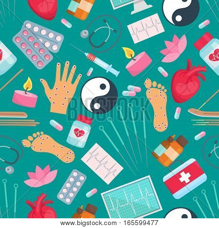 Acupuncture seamless pattern. Oriental alternative and Chinese complementary medicine treatment items needles, healthy points on hands, feet, Yin Yang symbol, drug pills and candle, syringe, heart, aromatherapy sticks and medical stethoscope poster