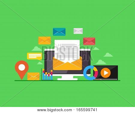 Email. Web banner email illustration. Email marketing. E-mail mutimedia message.