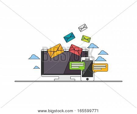 Email. Web banner email illustration. Email marketing. E-mail mutimedia message. Line icon. Modern flat design for Web Banner Website Element or Web Template