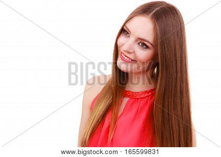 Woman Charming Girl Long Hair Face Makeup