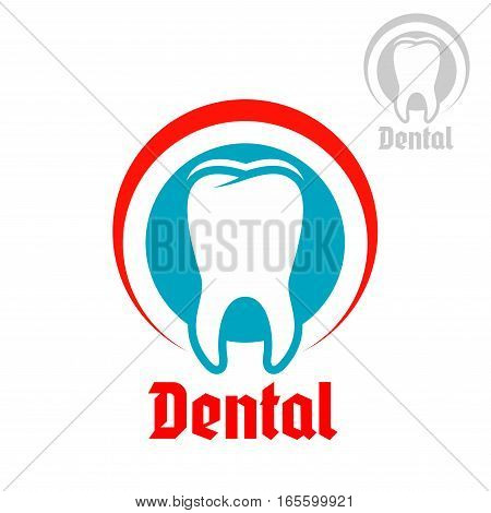 Dentistry, odontology, stomatology emblem. Vector badge or sign of healthy white tooth with round circle symbol of mouth. Isolated icon for dentist, stomatologist clinic or teeth health center or tooth paste design