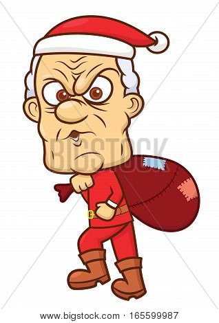 Ebenezer Scrooge in Santa Claus Costume with Big Gift Bag Cartoon Illustration Isolated on White
