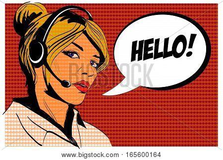 Girl operator call center. Comics style. Vector illustration