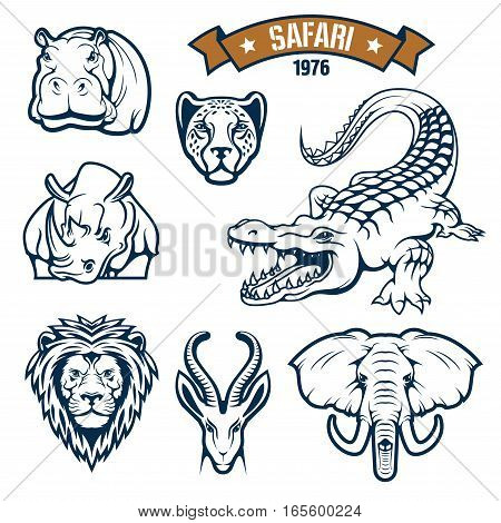 Hunting club emblems. African safari hunt animals vector isolated icons of lion, cheetah panther or leopard, antelope, alligator crocodile, elephant, hippopotamus and rhinoceros. Vector signs, badges and ribbon for savanna hunter sport