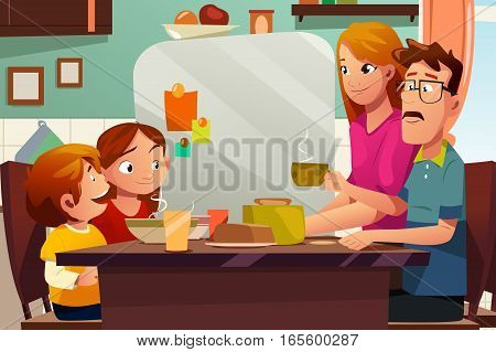 A vector illustration of Family Having Dinner Together on the Dining Table