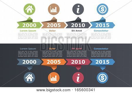 Timeline infographics design with arrows, workflow or process diagram, vector eps10 illustration