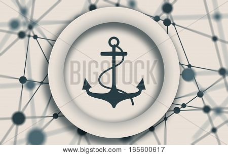 Anchor icon on abstract backdrop. Molecule And Communication Background. Connected lines with dots.