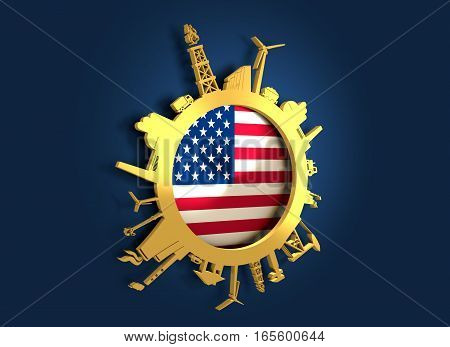 Circle with industry relative silhouettes. Objects located around the circle. Industrial design background. USA flag in the center. Golden material. 3D rendering