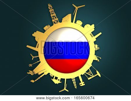 Circle with industry relative silhouettes. Objects located around the circle. Industrial design background. Russia flag in the center. Golden material. 3D rendering