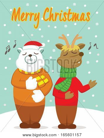 Polar Bear and Reindeer Singing in the Winter Cartoon Illustration