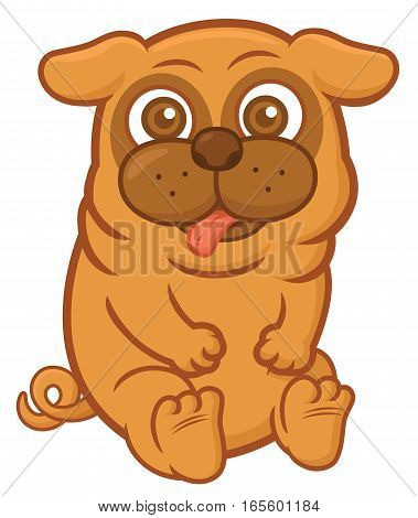 Pug Dog Sitting Cartoon Animal Character Isolated on White