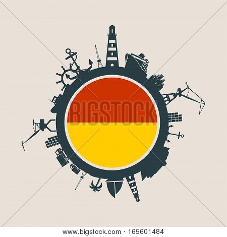 Circle with sea shipping and travel relative silhouettes. Vector illustration. Objects located around the circle. Industrial design background. Ostend flag in the center.